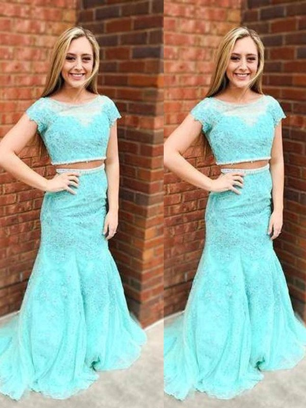 Blue Lace Scoop Trumpet/Mermaid Sweep/Brush Train Prom Dresses