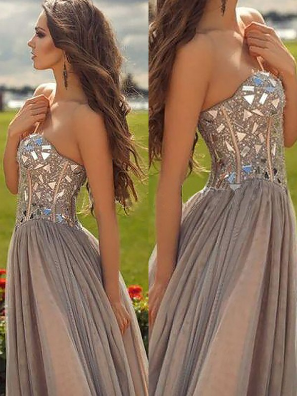 Champagne Chiffon Sweetheart A-Line/Princess Floor-Length Prom Dresses