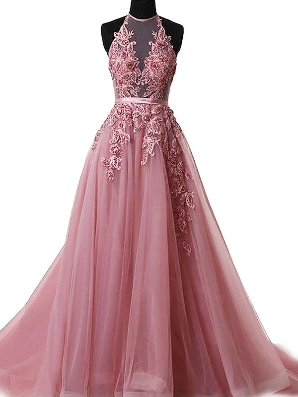 Pink Tulle Halter A-Line/Princess Sweep/Brush Train Dresses