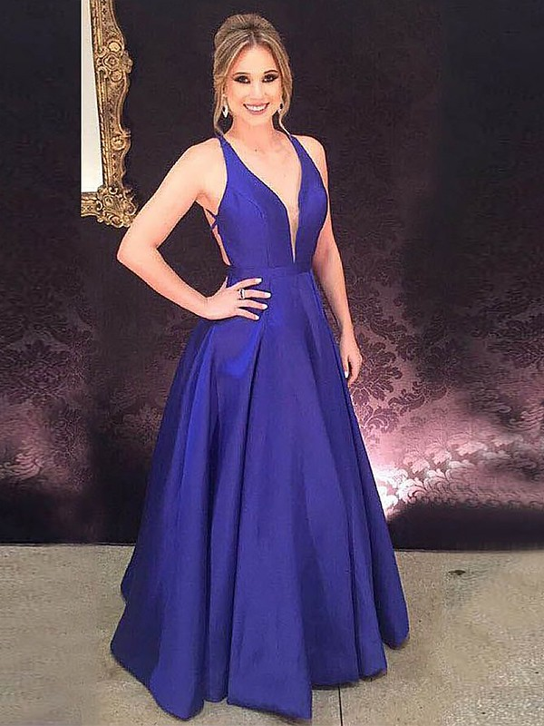 Royal Blue Satin V-neck A-Line/Princess Floor-Length Dresses