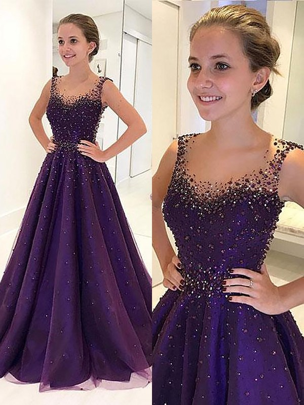 Grape Tulle Scoop A-Line/Princess Floor-Length Dresses