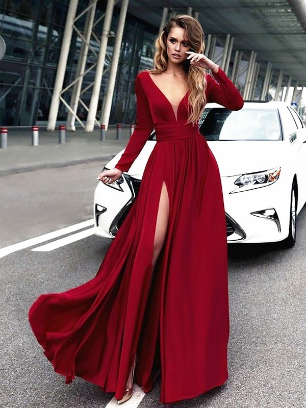 Burgundy Satin Chiffon V-neck A-Line/Princess Floor-Length Dresses