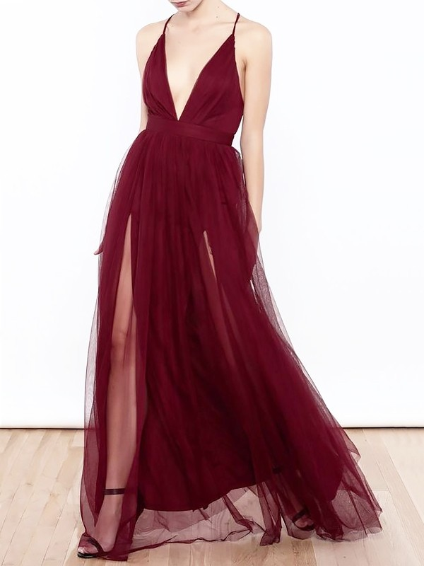 Burgundy Tulle V-neck A-Line/Princess Floor-Length Dresses