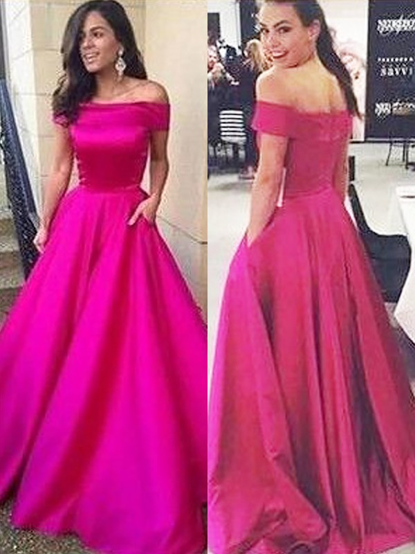 Fuchsia Satin Off-the-Shoulder A-Line/Princess Sweep/Brush Train Dresses