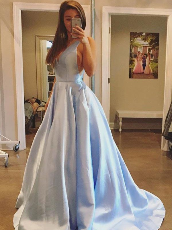 Blue Satin V-neck A-Line/Princess Sweep/Brush Train Dresses