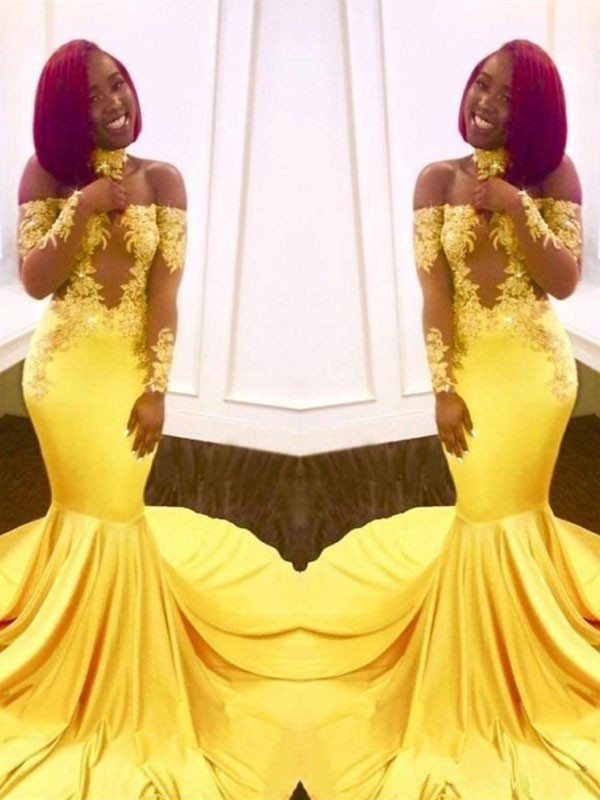 Yellow Elastic Woven Satin Off-the-Shoulder Trumpet/Mermaid Sweep/Brush Train Dresses