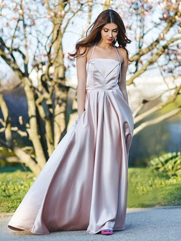 Pearl Pink Satin Halter A-Line/Princess Sweep/Brush Train Dresses