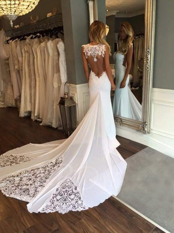 Ivory Lace Sweetheart Trumpet/Mermaid Cathedral Train Wedding Dresses