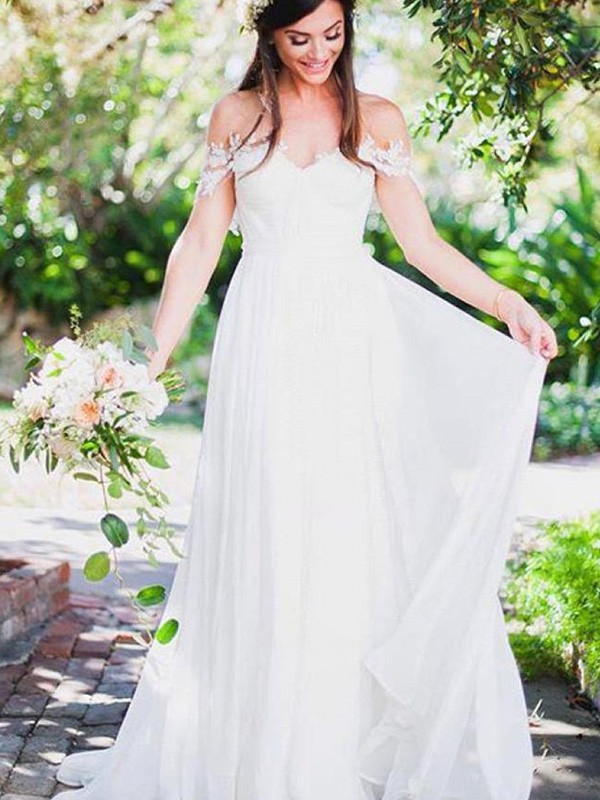 White Chiffon Off-the-Shoulder A-Line/Princess Sweep/Brush Train Wedding Dresses
