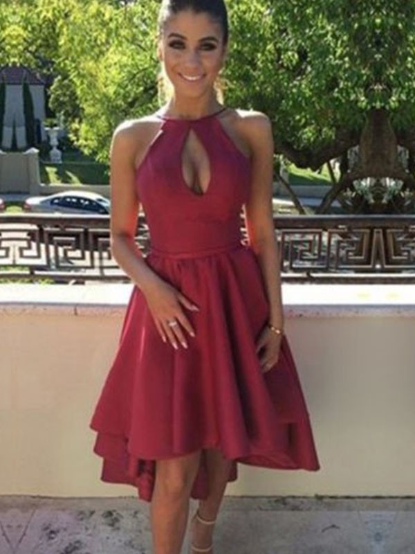 Burgundy Satin Halter A-Line/Princess Asymmetrical Dresses