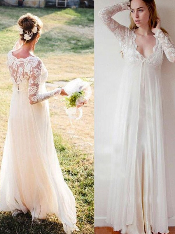 Ivory Chiffon V-neck Empire Floor-Length Wedding Dresses