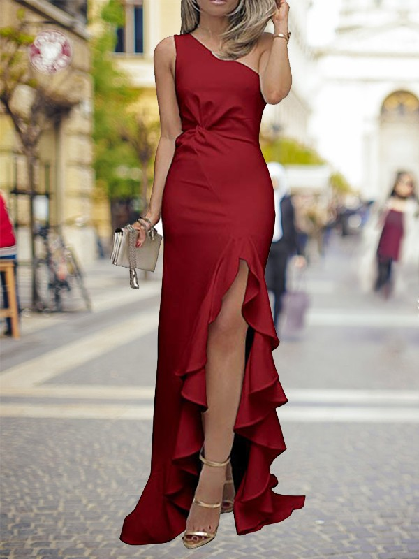 Burgundy Silk like Satin One-Shoulder Sheath/Column Sweep/Brush Train Dresses
