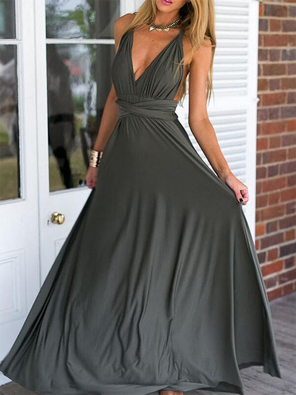Gray Chiffon V-neck Empire Floor-Length Dresses