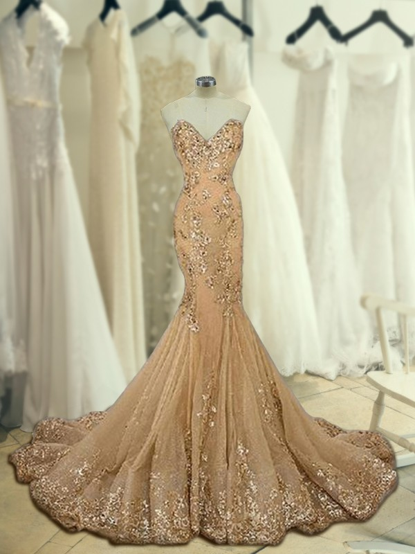 Gold Tulle Sweetheart Trumpet/Mermaid Sweep/Brush Train Dresses