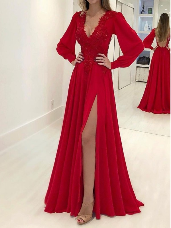 Red Chiffon V-neck A-Line/Princess Sweep/Brush Train Dresses
