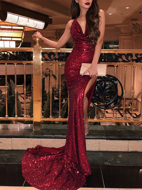 Burgundy Sequins V-neck Trumpet/Mermaid Sweep/Brush Train Dresses