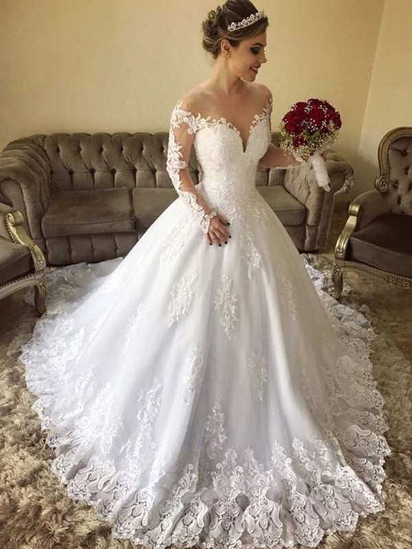 White Tulle Off-the-Shoulder Ball Gown Sweep/Brush Train Wedding Dresses