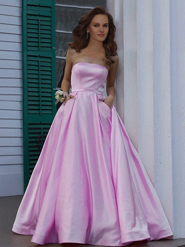 Pink Satin Strapless A-Line/Princess Floor-Length Dresses