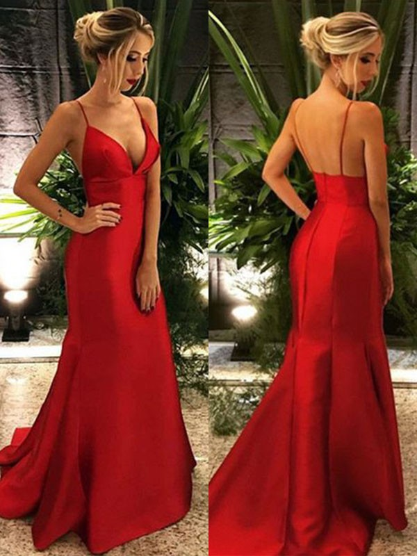 Red Satin Spaghetti Straps Trumpet/Mermaid Sweep/Brush Train Dresses
