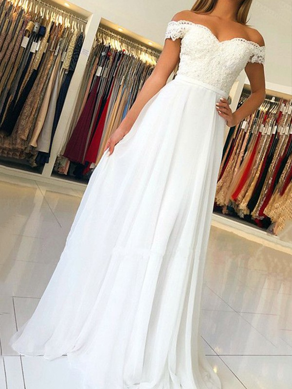 White Chiffon Off-the-Shoulder A-Line/Princess Floor-Length Dresses