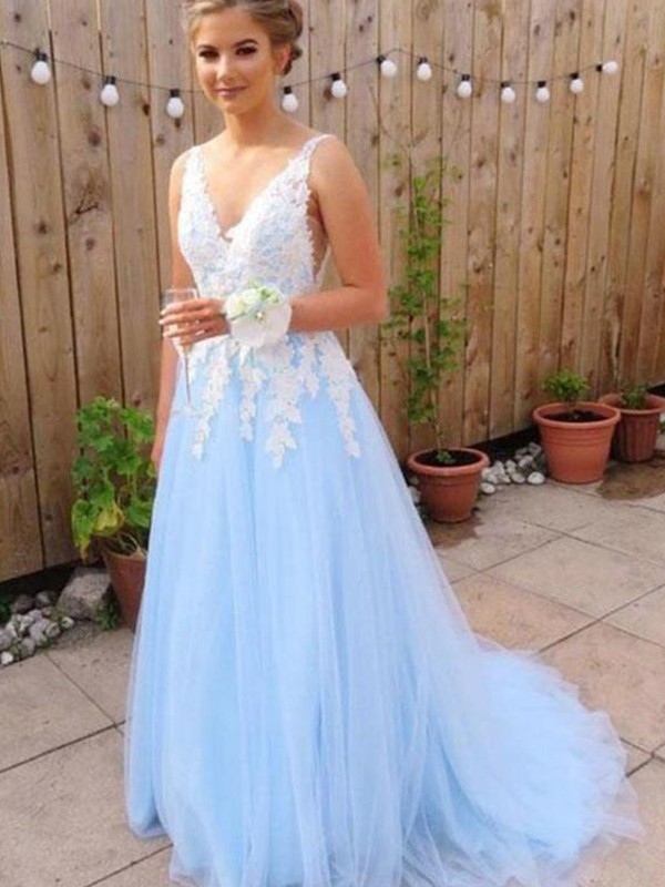 Light Sky Blue Tulle V-neck A-Line/Princess Sweep/Brush Train Dresses