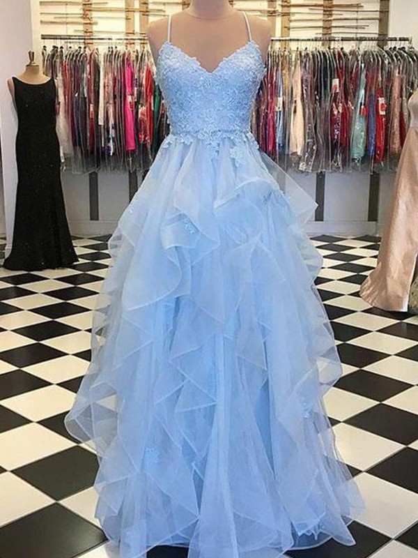 Blue Organza Spaghetti Straps A-Line/Princess Floor-Length Dresses
