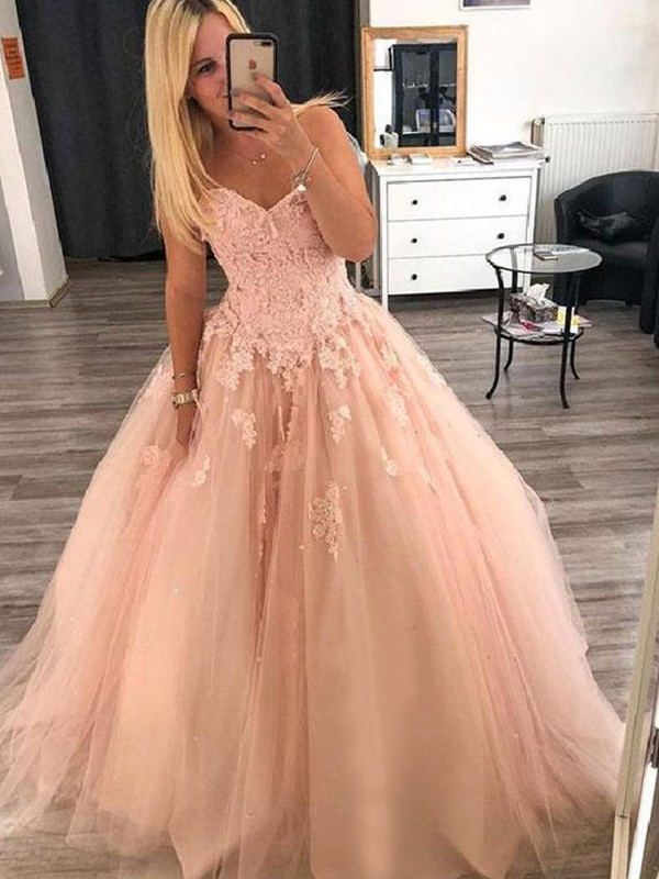 Pearl Pink Tulle Sweetheart Ball Gown Floor-Length Dresses
