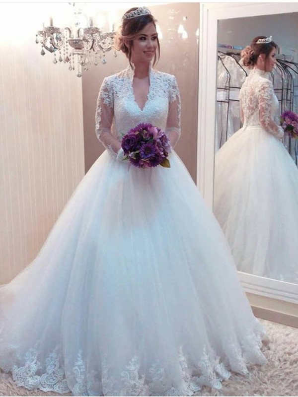 White Tulle High Neck Ball Gown Sweep/Brush Train Wedding Dresses