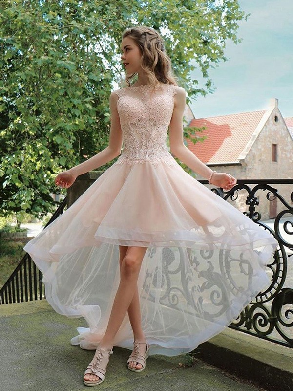 Pearl Pink Tulle Sheer Neck A-Line/Princess Asymmetrical Dresses