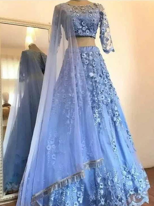 Blue Tulle Scoop A-Line/Princess Floor-Length Dresses