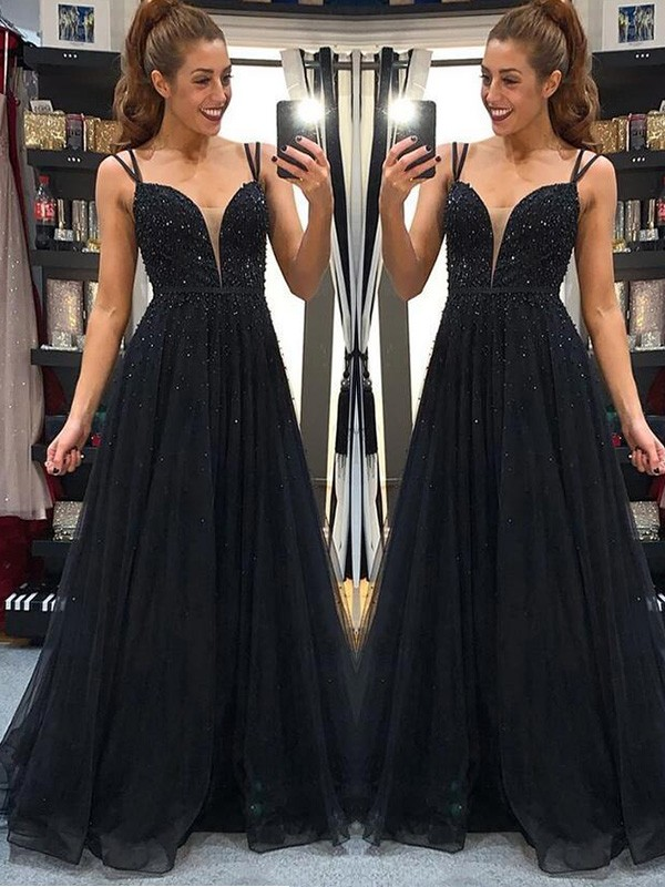 Black Tulle Spaghetti Straps A-Line/Princess Floor-Length Dresses