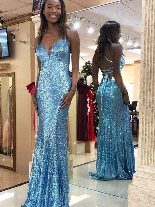 Blue Sequins V-neck Trumpet/Mermaid Sweep/Brush Train Dresses