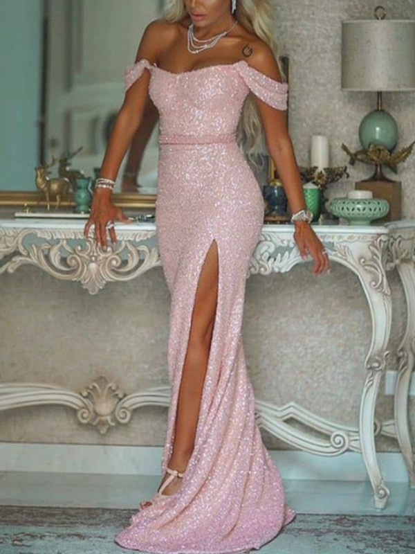 Pearl Pink Sequins Off-the-Shoulder Trumpet/Mermaid Sweep/Brush Train Dresses