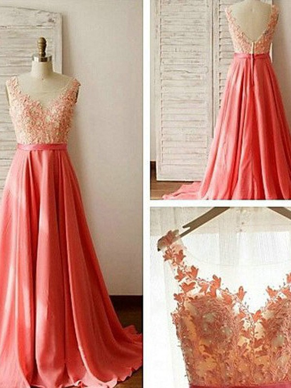 Watermelon Chiffon Sweetheart A-Line/Princess Sweep/Brush Train Bridesmaid Dresses