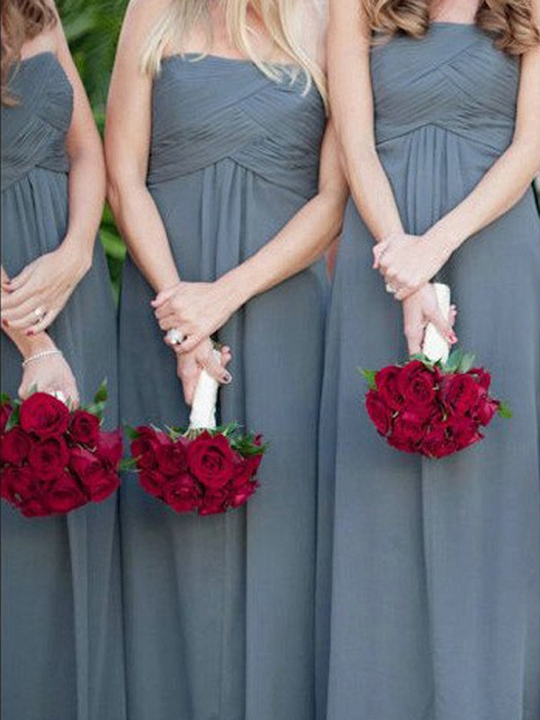 Silver Chiffon Strapless A-Line/Princess Floor-Length Bridesmaid Dresses
