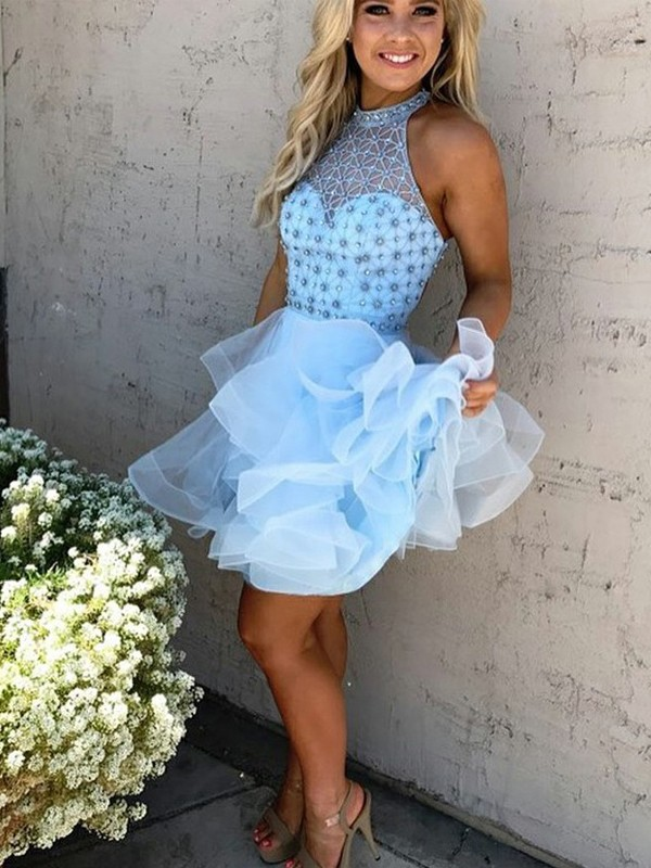 Light Sky Blue Tulle High Neck A-line/Princess Short/Mini Homecoming Dresses