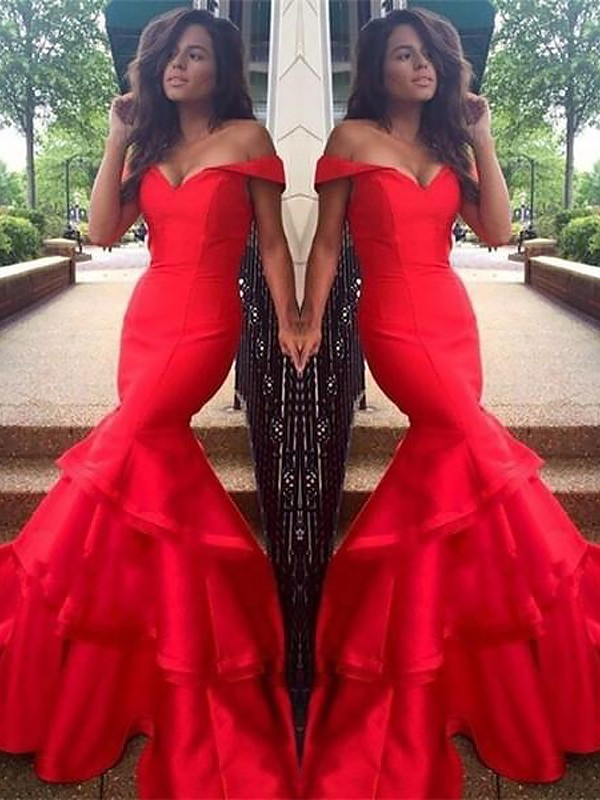 Red Taffeta Off-the-Shoulder Trumpet/Mermaid Sweep/Brush Train Dresses