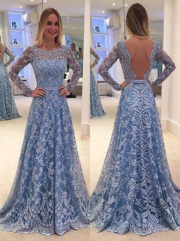 Light Sky Blue Lace Bateau A-Line/Princess Floor-Length Dresses