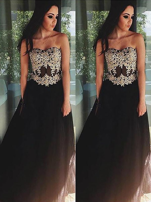 Black Tulle Sweetheart A-Line/Princess Floor-Length Dresses