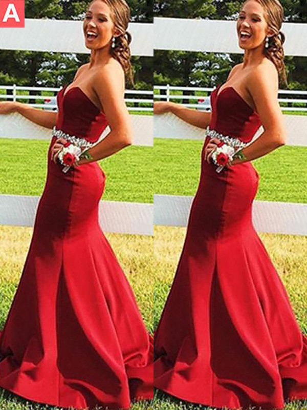 Red Satin Sweetheart Trumpet/Mermaid Sweep/Brush Train Dresses