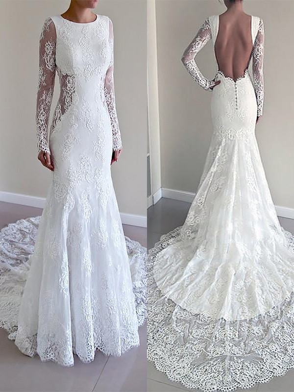 Ivory Lace Scoop Trumpet/Mermaid Court Train Wedding Dresses