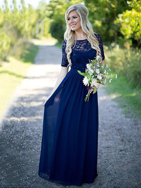Dark Navy Chiffon Scoop A-Line/Princess Floor-Length Bridesmaid Dresses