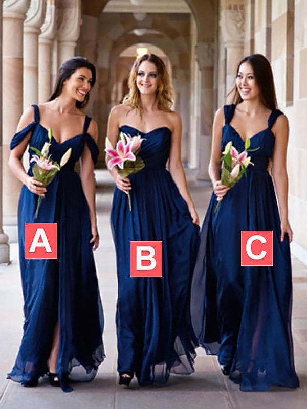 Royal Blue Chiffon A-Line/Princess Floor-Length Bridesmaid Dresses