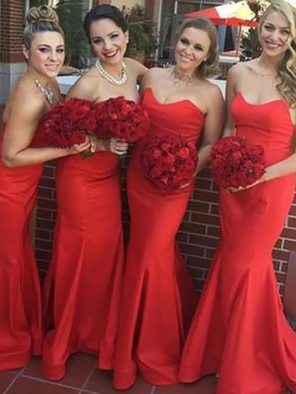 Red Satin Sweetheart Trumpet/Mermaid Floor-Length Bridesmaid Dresses