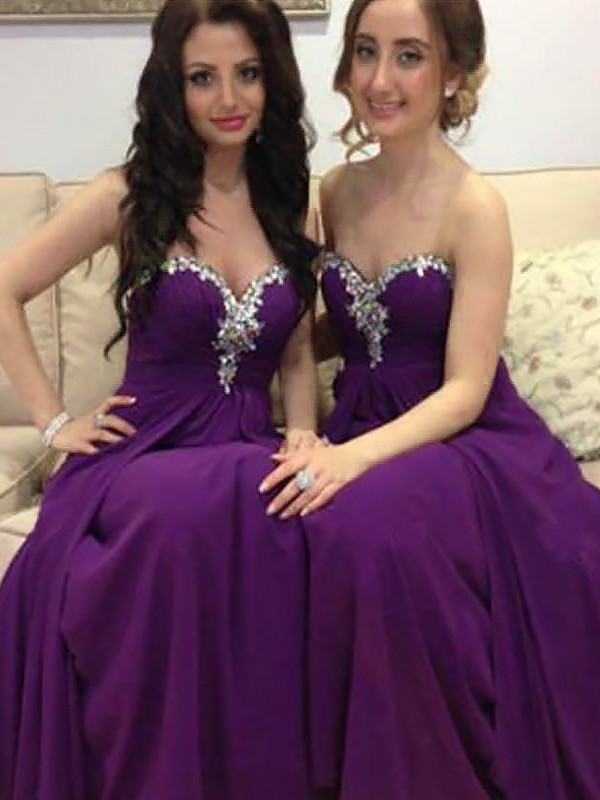 Grape Chiffon Sweetheart A-Line/Princess Floor-Length Bridesmaid Dresses