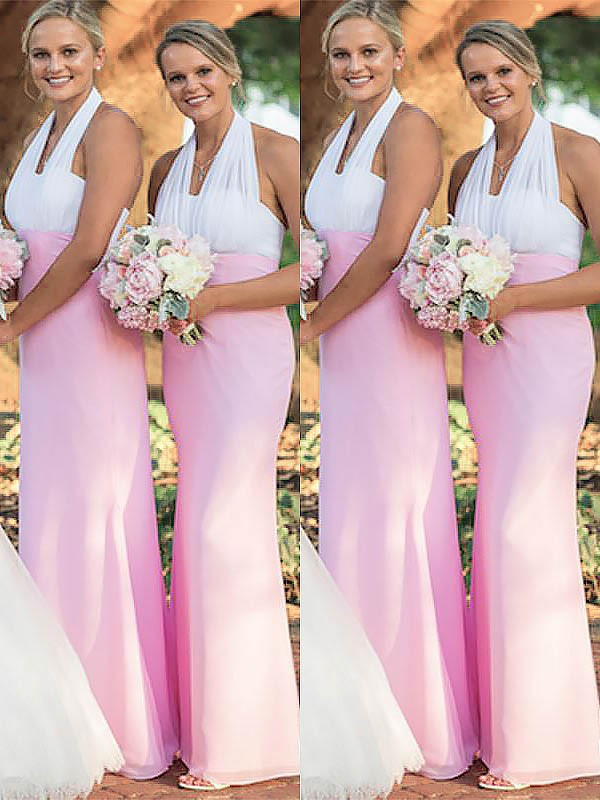 Pink Chiffon Halter Sheath/Column Floor-Length Bridesmaid Dresses