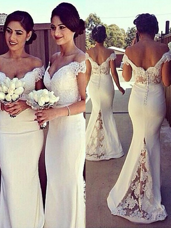 Ivory Satin Off-the-Shoulder Trumpet/Mermaid Sweep/Brush Train Bridesmaid Dresses