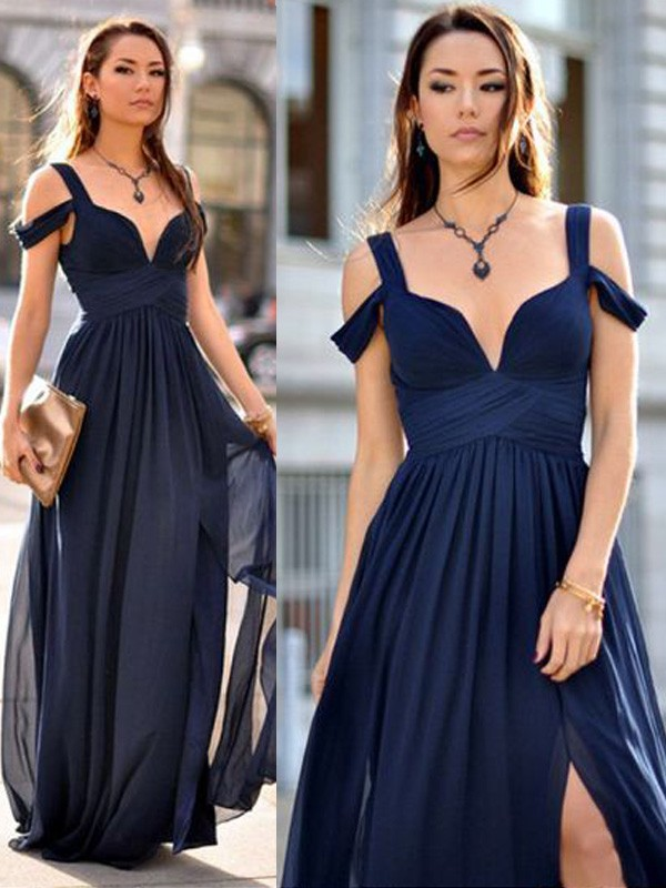 Dark Navy Chiffon Straps A-Line/Princess Floor-Length Bridesmaid Dresses
