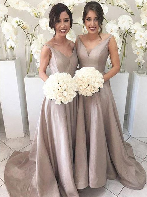 Silver Taffeta V-neck A-Line/Princess Sweep/Brush Train Bridesmaid Dresses