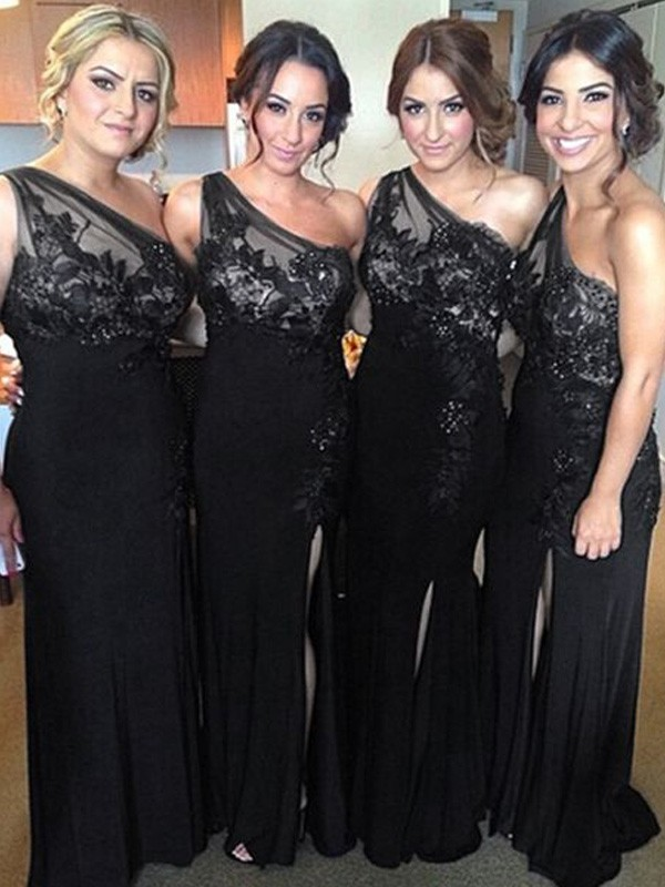 Black Spandex One-Shoulder Sheath/Column Floor-Length Bridesmaid Dresses